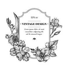 Badge design with black and white anemone iris vector