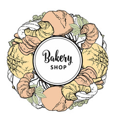 bakery shop banner with baked bread loaf and vector image