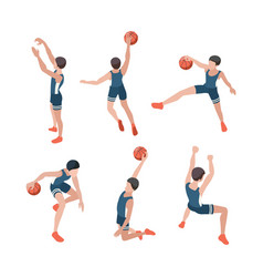 Basketball players sport athletes playing in vector