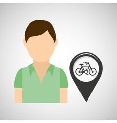 Bicycle road pin location man design vector