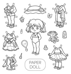 black and white set paper doll and clothes vector image