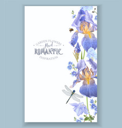 Blue flower border vector