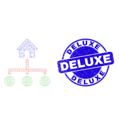 Blue grunge deluxe stamp seal and web carcass bank vector