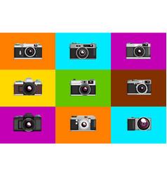 camera sett retro photo cameras on colored vector image
