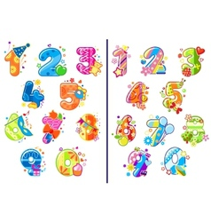 Cartoon childish numbers and digits vector image