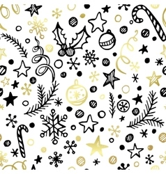 Christmas and New Year golden seamless pattern vector image