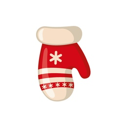 Christmas mitten icon in flat style vector image