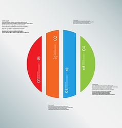 Circle template consists of four color parts on vector