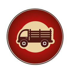 Color circular emblem with stakes truck vector