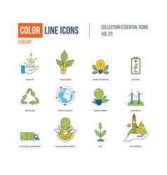 color thin line icons set ecology green energy vector image