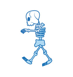 comic skeleton human walk character vector image