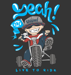 cool kid on bike t-shirt print vector image