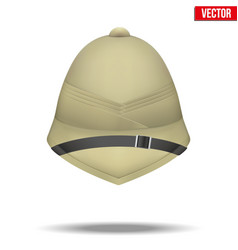 cork helmet hat for safari or explorer vector image