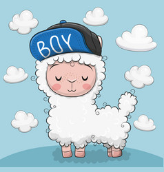 cute alpaca with clouds on a blue background vector image