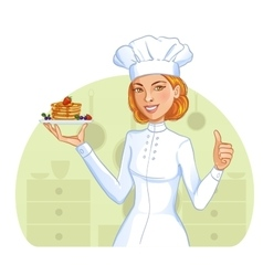 Cute cook girl with pancakes on plate vector