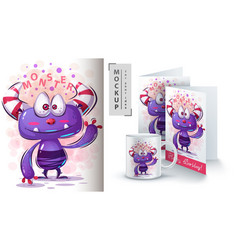 Cute monster - mockup for your idea vector