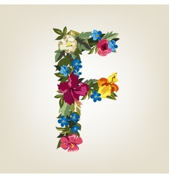 F letter Flower capital alphabet Colorful font vector