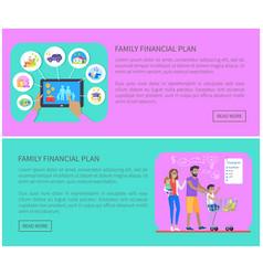 Family financial plan web set vector