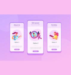 feminism app interface template vector image