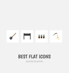 Flat icon dacha set of shovel barbecue cutter vector