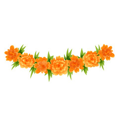 garland orange marigold blooms and green leaves vector image