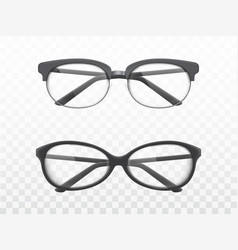 glasses with black frames realistic vector image