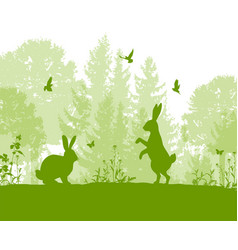 green nature landscape with rabbits vector image