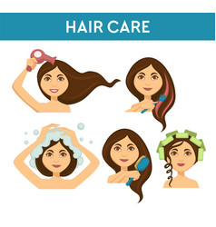 Hair care woman washing it and using dryer vector