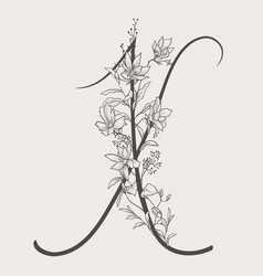 Hand drawn flowered uppercase x monogram vector