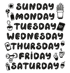 Hand drawn weekdays and elements for diary vector