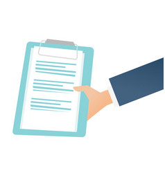 hand holding a clipboard with business documents vector image