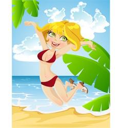 happy girl on beach vector image