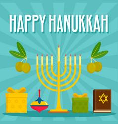 happy hanukkah menorah concept background flat vector image