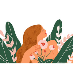 Happy peaceful blooming woman with blossomed vector