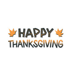 happy thanksgiving simple papercut style lettering vector image