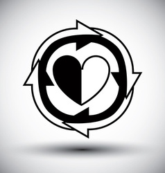 Heart surrounded by arrows simple single color vector