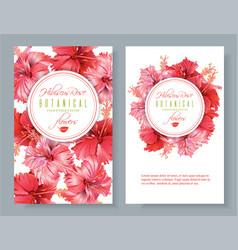 Hibiscus flower banners vector