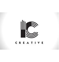 ic logo letter with black lines design line letter vector image