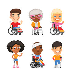 Injured people flat characters vector