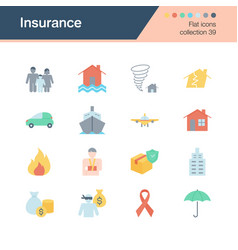insurance icons flat design collection 39 vector image