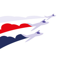 Jets flying in formation on white background vector