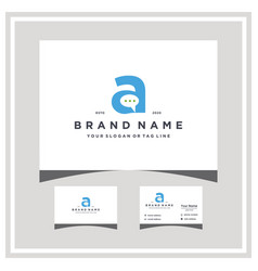 Letter a chat logo design and business card vector
