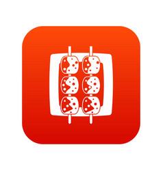 Meat shashlik icon digital red vector