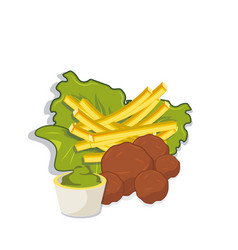 Meatballs with french fries and sose vector