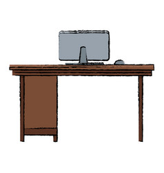 office desk computer workspace furniture vector image