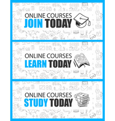 Online courses concept with business doodle vector