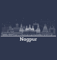 outline nagpur india city skyline with white vector image