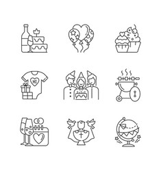 Party celebration linear icons set vector