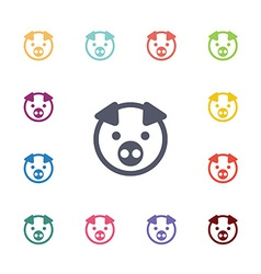 Pig flat icons set vector