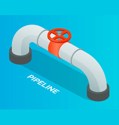 Pipeline with red valve or wheel for open vector